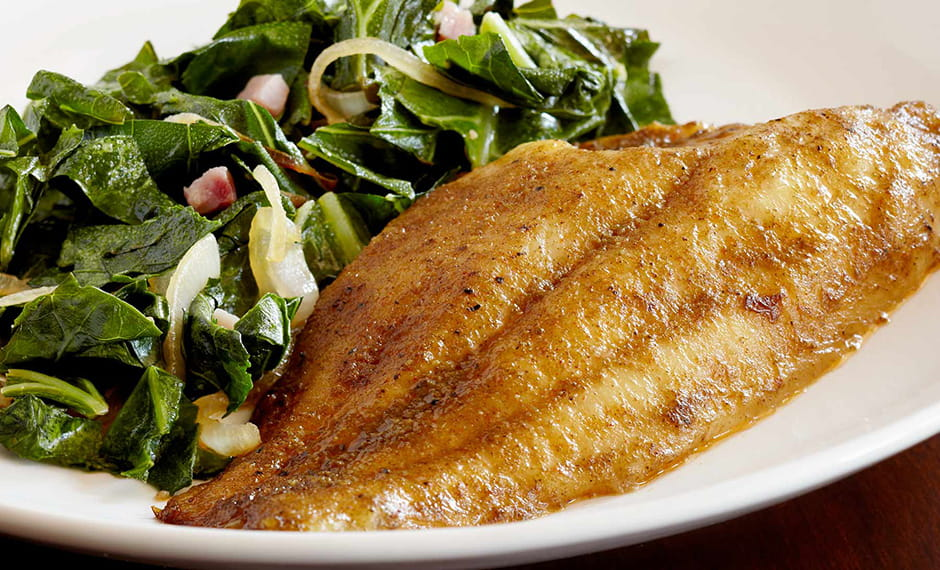Baked Cajun Catfish and Easy Collard Greens