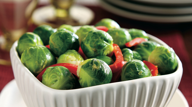 Brussels Sprouts and Red Bell Pepper Strips