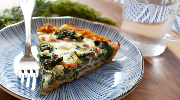 Turkey Bacon and Spinach Quiche with Sweet Potato Crust