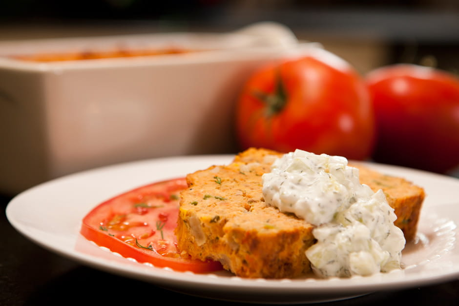 Salmon Loaf with Creamy Cucumber Sauce