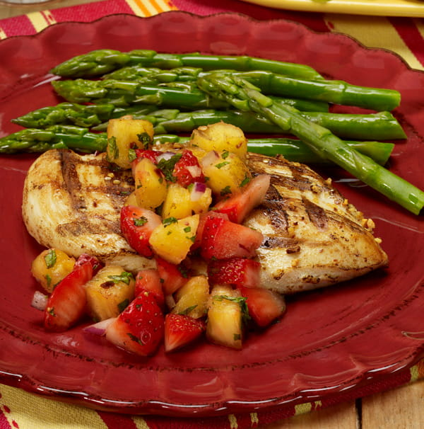 Grilled Chicken with Strawberry and Pineapple Salsa