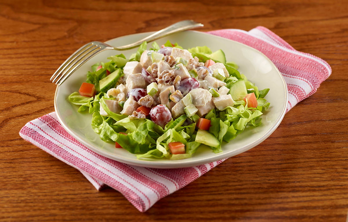 Apple and Walnut Chicken Salad with Green Salad