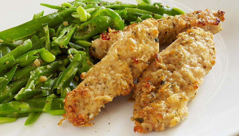 Baked Chicken Strips with Microwave Green Beans