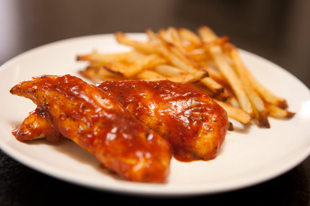 Barbeque Glazed Chicken Tenders And Oven Fries American