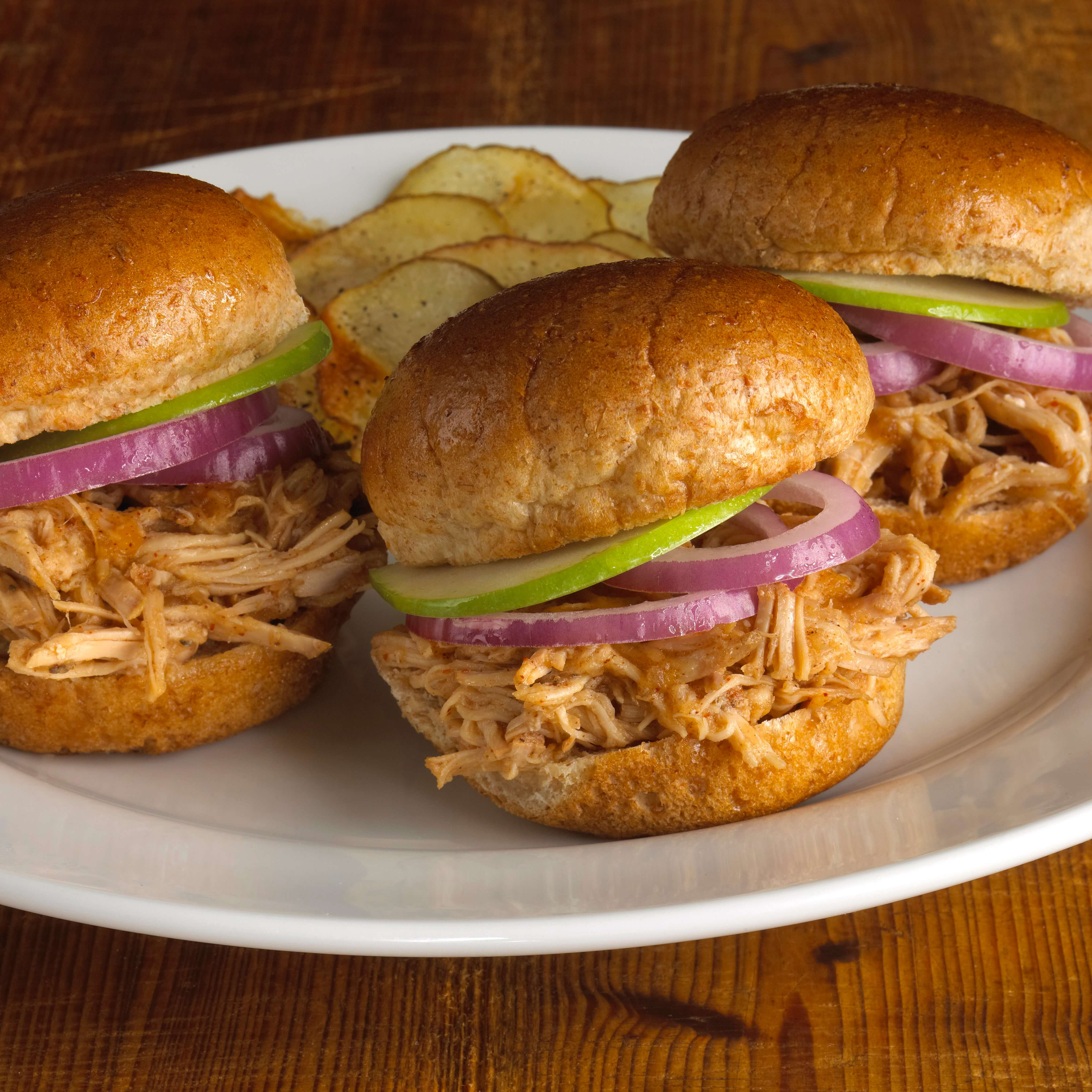BBQ Pulled Pork Sliders with Homemade Potato Chips