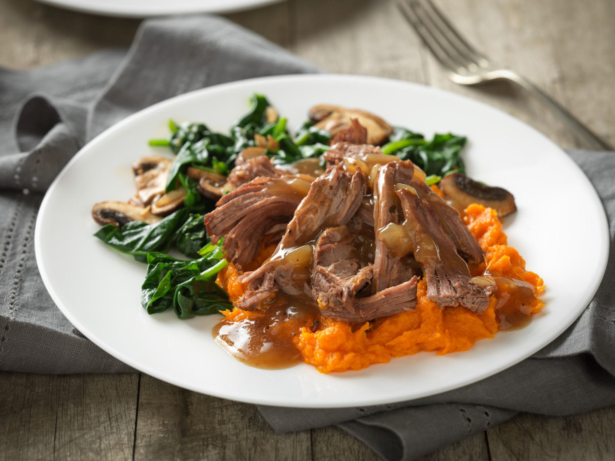 Beef Pot Roast with Cider Gravy and Maple Sweet Potatoes
