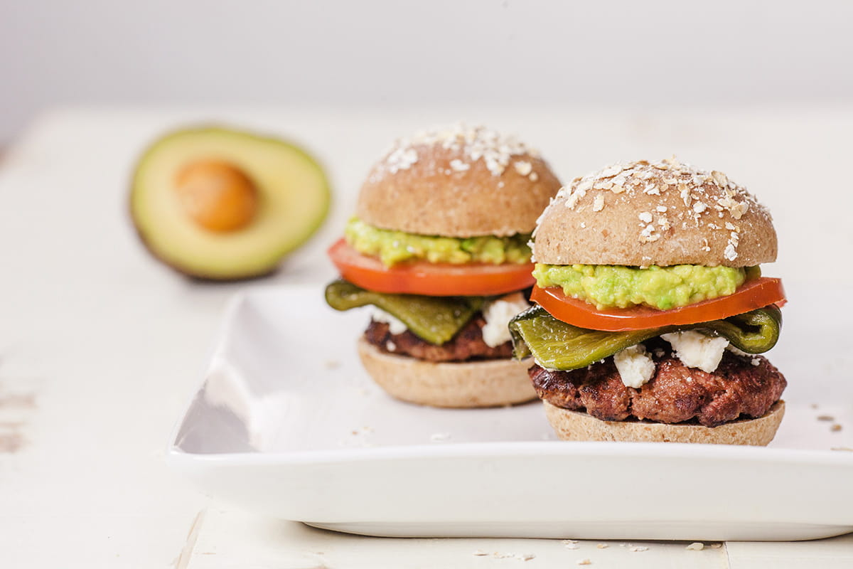 Beef Sliders with Avocado, Roasted Poblano Pepper, and Cotija Cheese