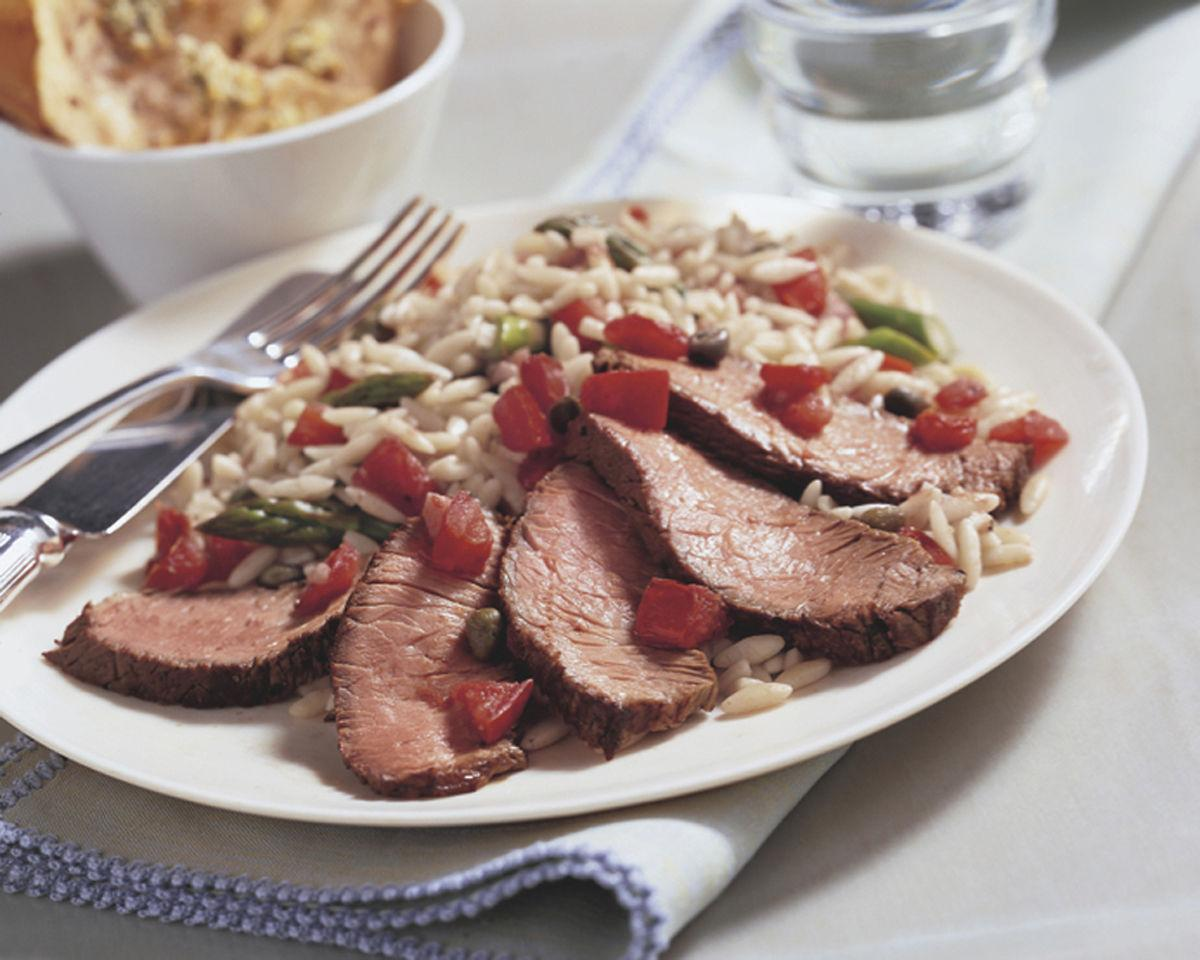 Beef Top Sirloin Steak with Asparagus & Tomato Orzo