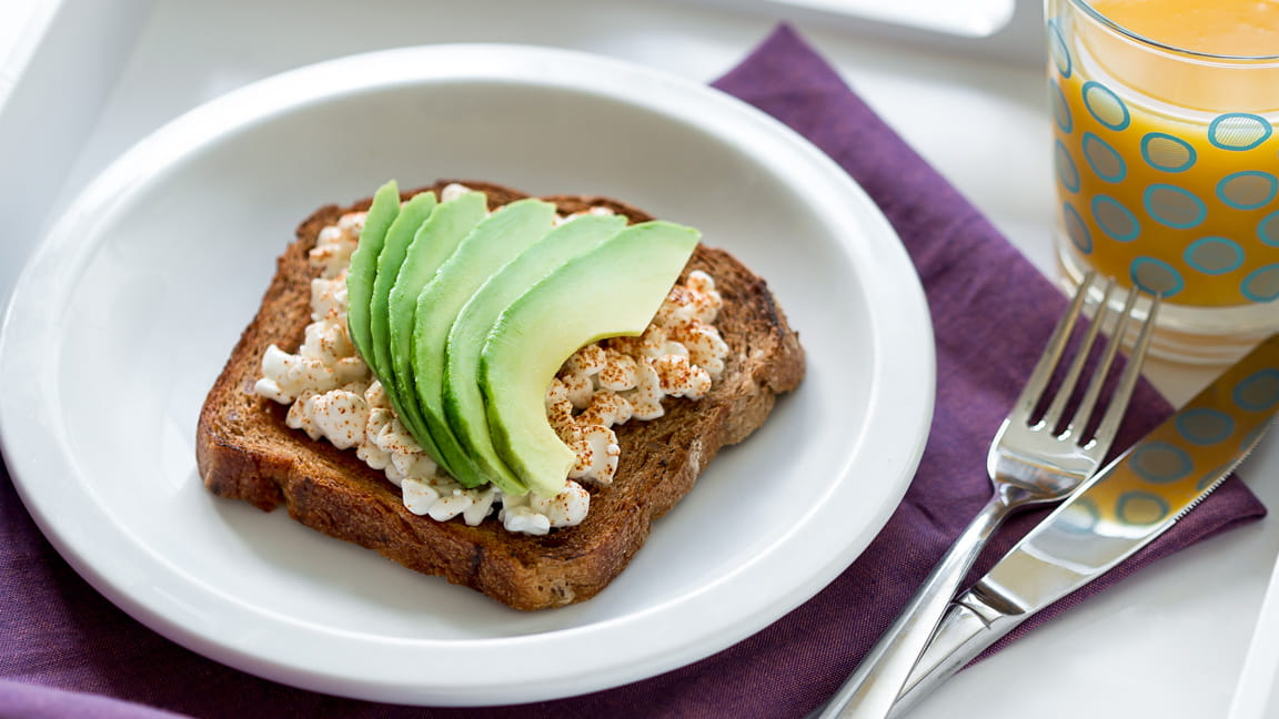 Breakfast Toast with Cottage Cheese and Avocado