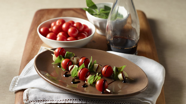 Caprese Kebabs with Balsamic Drizzle