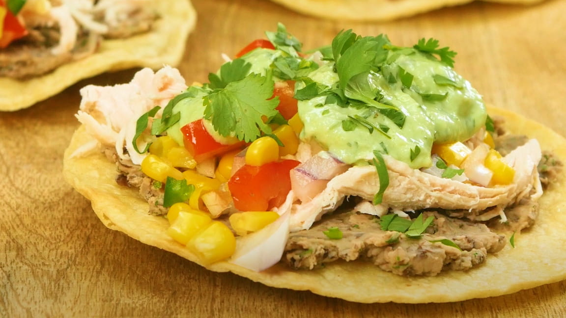 Chicken and Black Bean Tostada with Avocado Cream Roasted Turkey ...