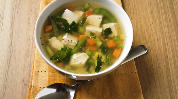 Chicken Vegetable Soup with Orzo and Spinach