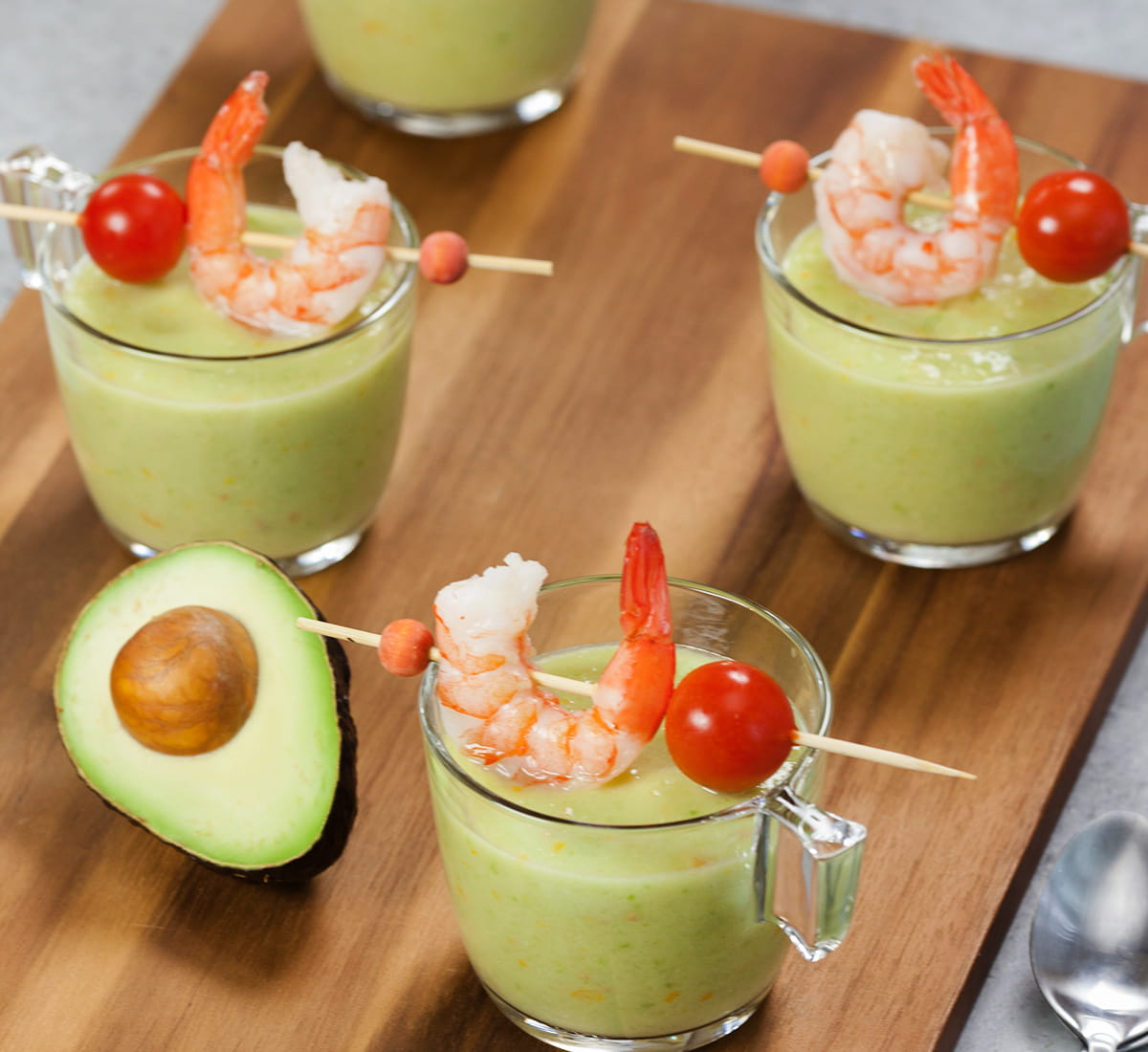 Chilled Avocado Gazpacho with Shrimp