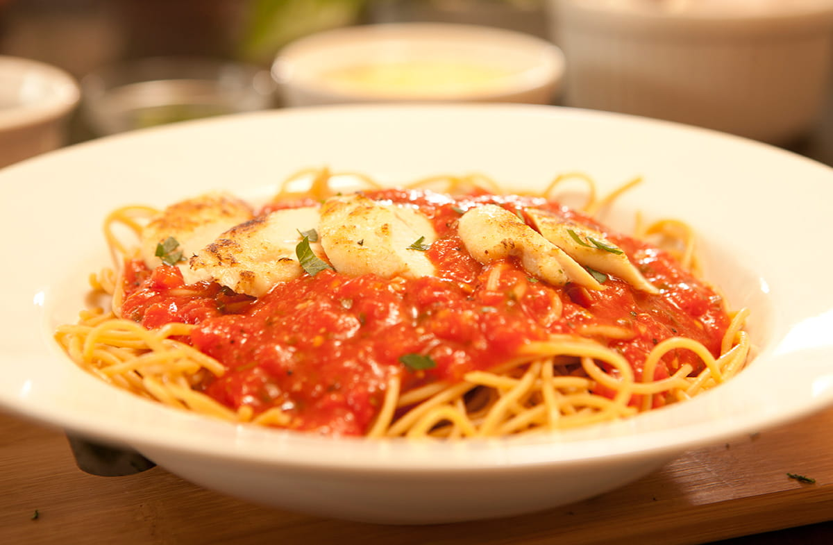 Chunky Marinara with Pasta & Seared Chicken