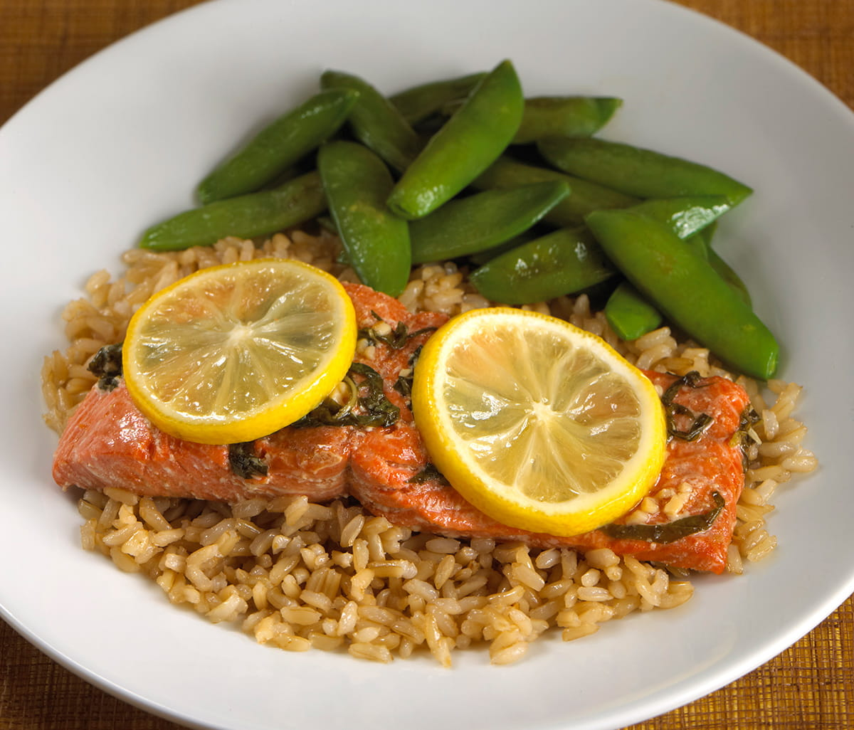 Citrus Ginger Honey Glazed Salmon with Whole Grain Rice and Sugar Snap Peas