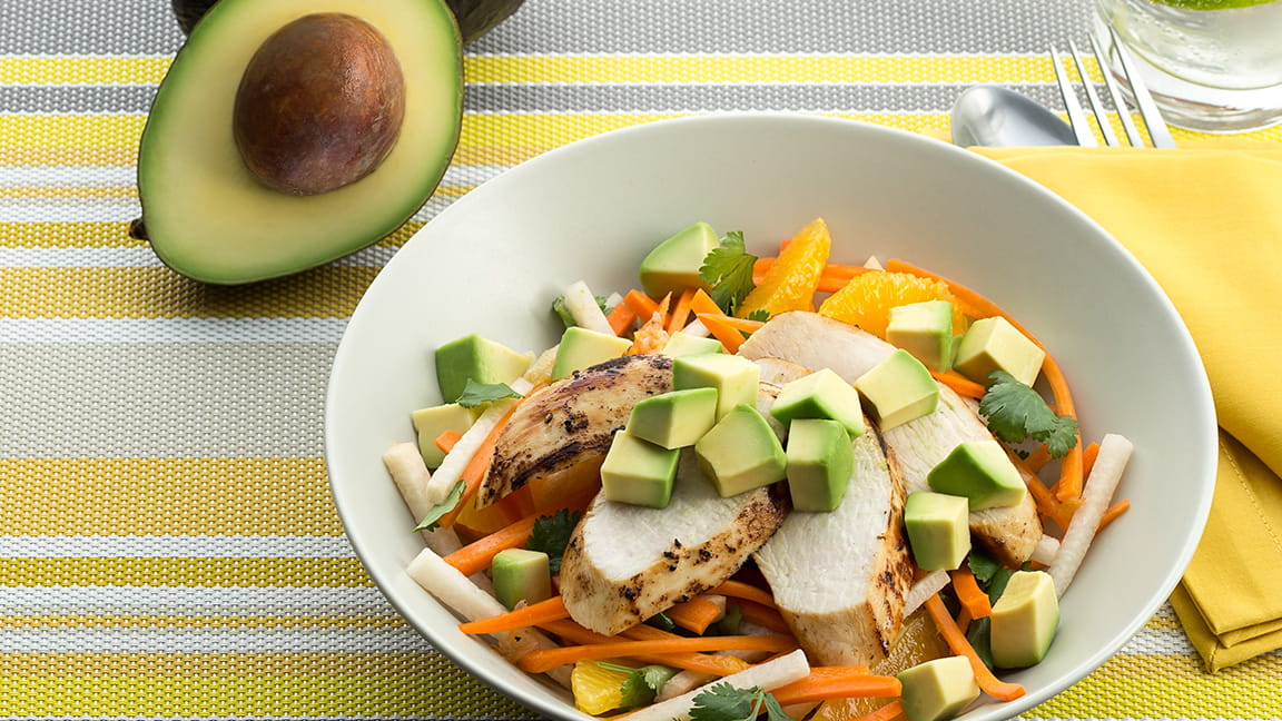 Citrus Cumin Marinated Chicken Salad with Avocados