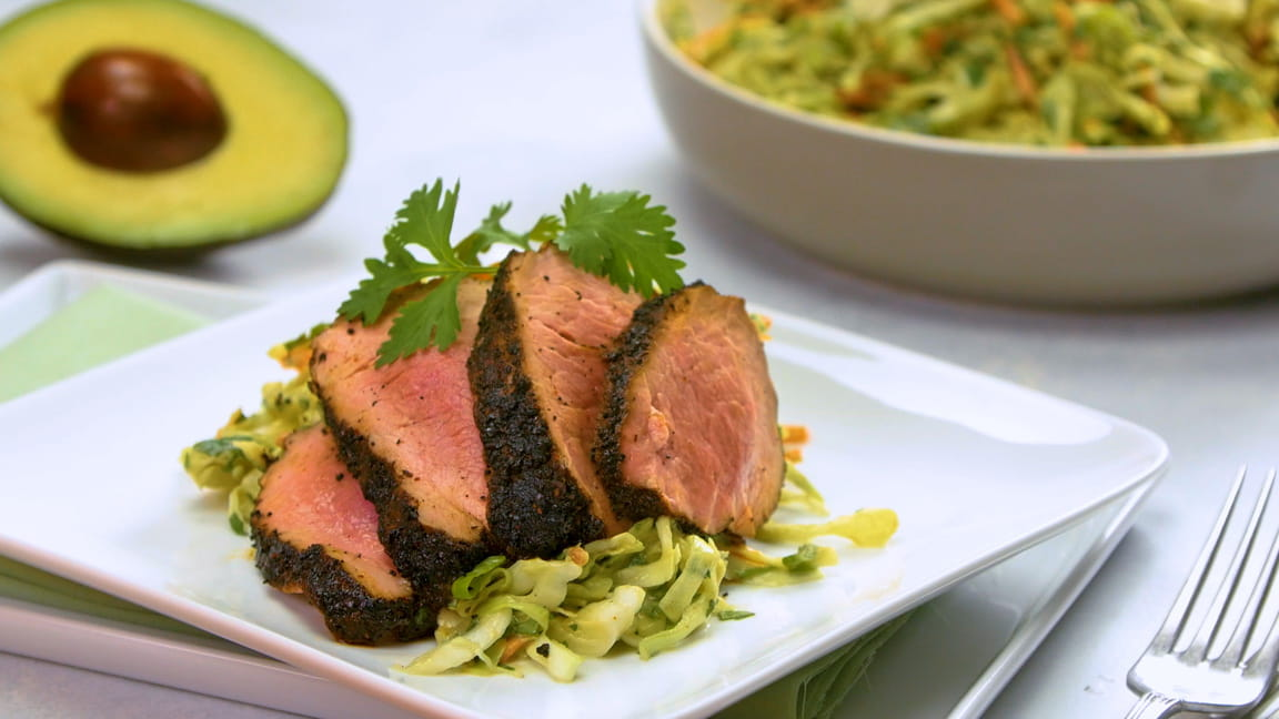 Coffee-Rubbed Grilled Pork Tenderloin with Avocado-Cilantro Slaw