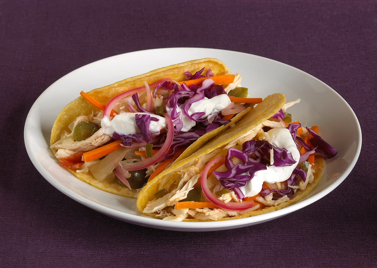 Crockpot Pulled Orange Chicken Tacos with Pickled Vegetables