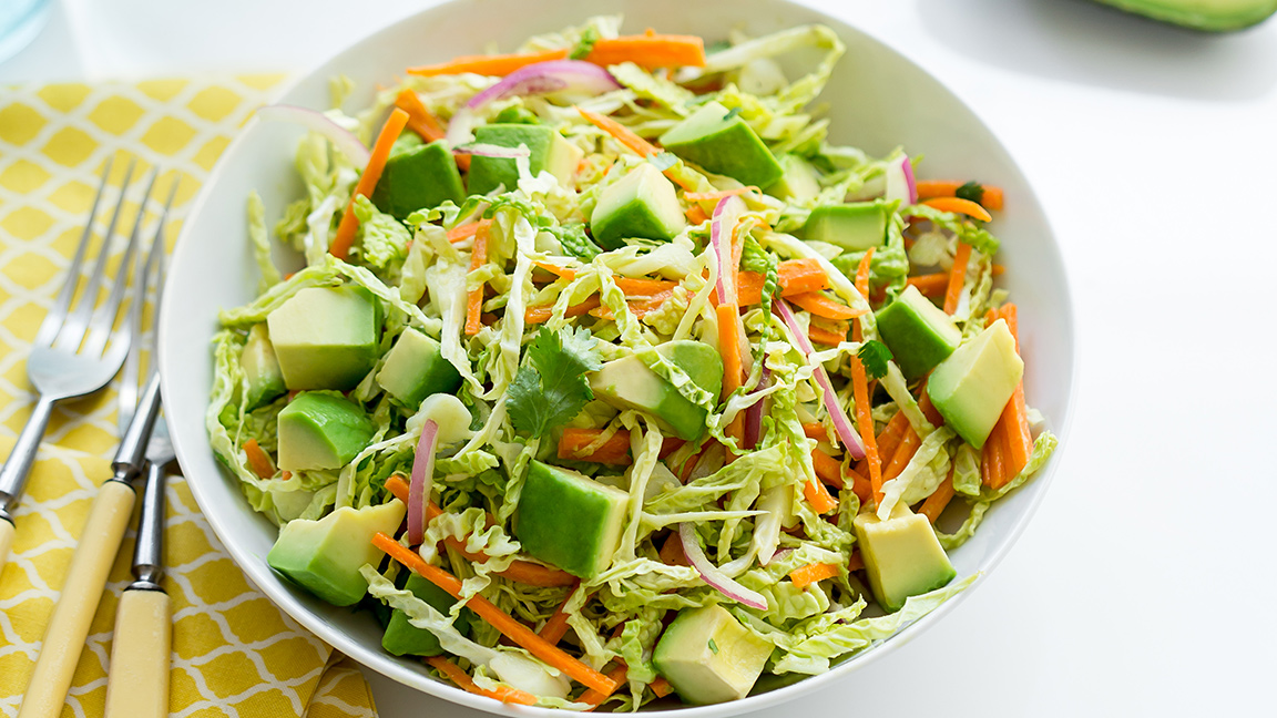 Easy Avocado Cabbage Carrot Cole Slaw