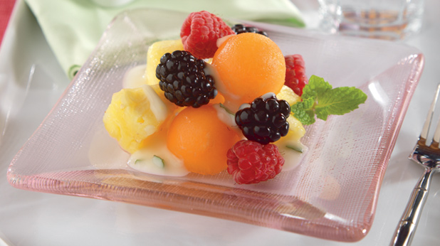 Fruit Salad with Lemon Mint Yogurt Dressing