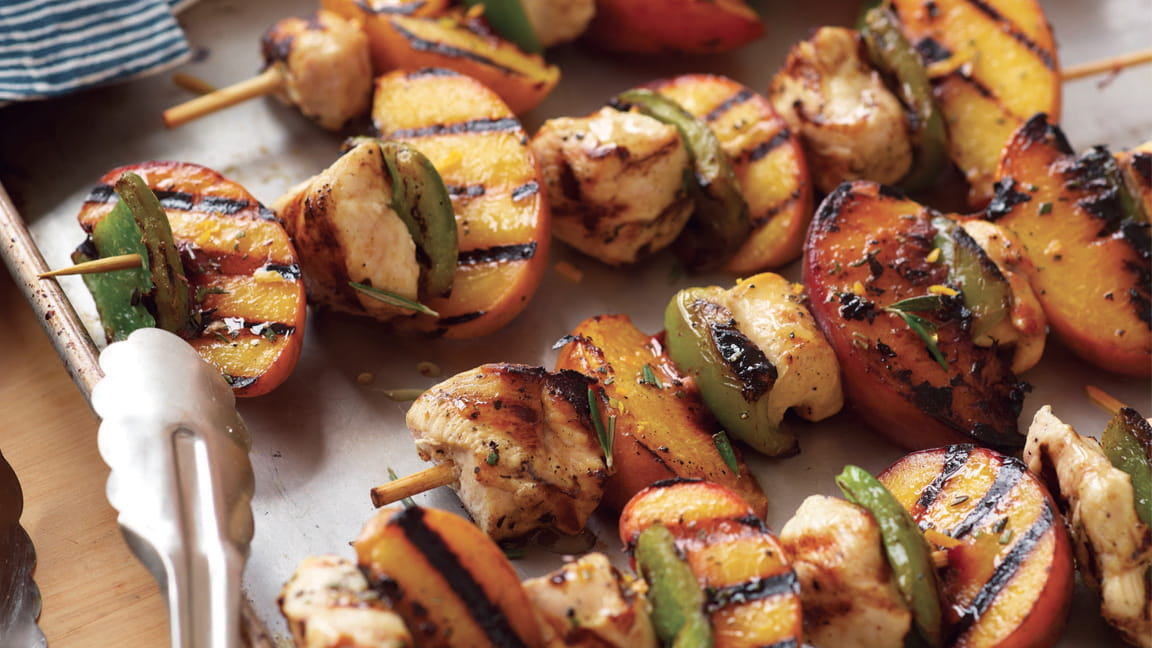 Rosemary-Peach Chicken Kebabs with Orange Glaze