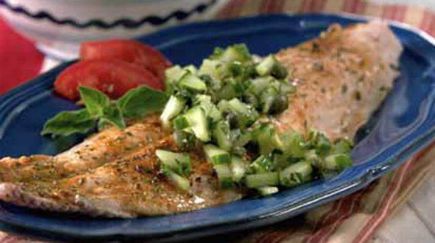 Greek Fish Fillets with Cucumber Caper Salsa