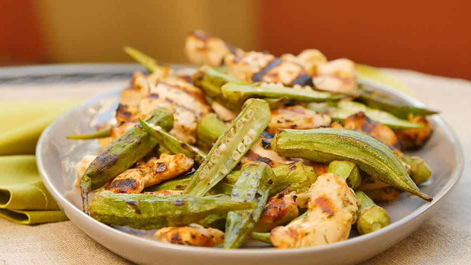 Grilled Lemon Garlic Chicken with Grilled Okra