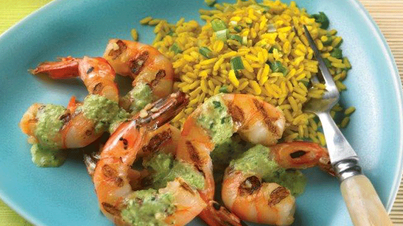 Grilled Shrimp with Mint Salsa Verde