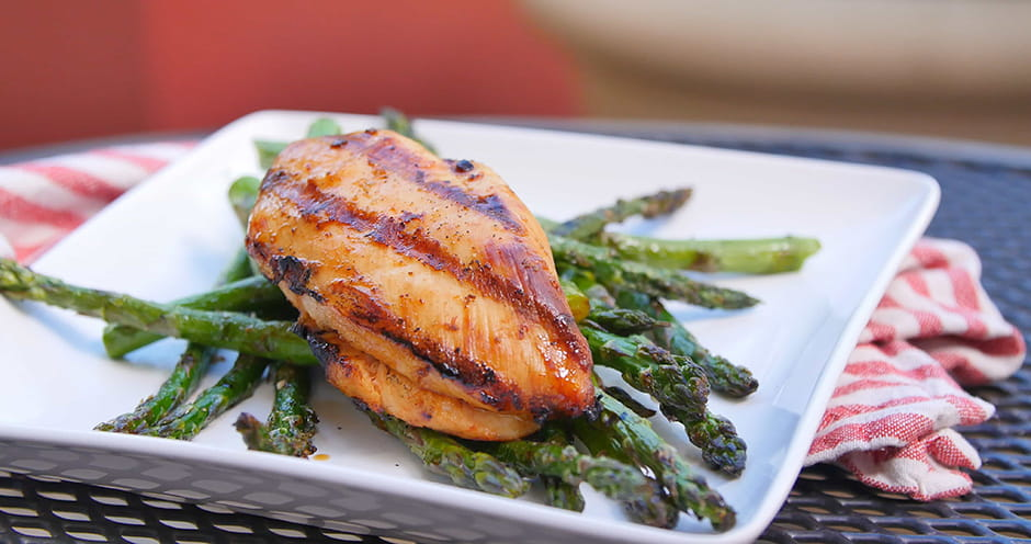 Grilled Tequila-Lime Chicken with Grilled Asparagus