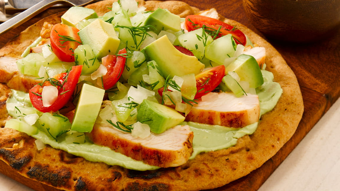 Grilled Chicken Flatbread with Avocado Yogurt and Chopped Salad