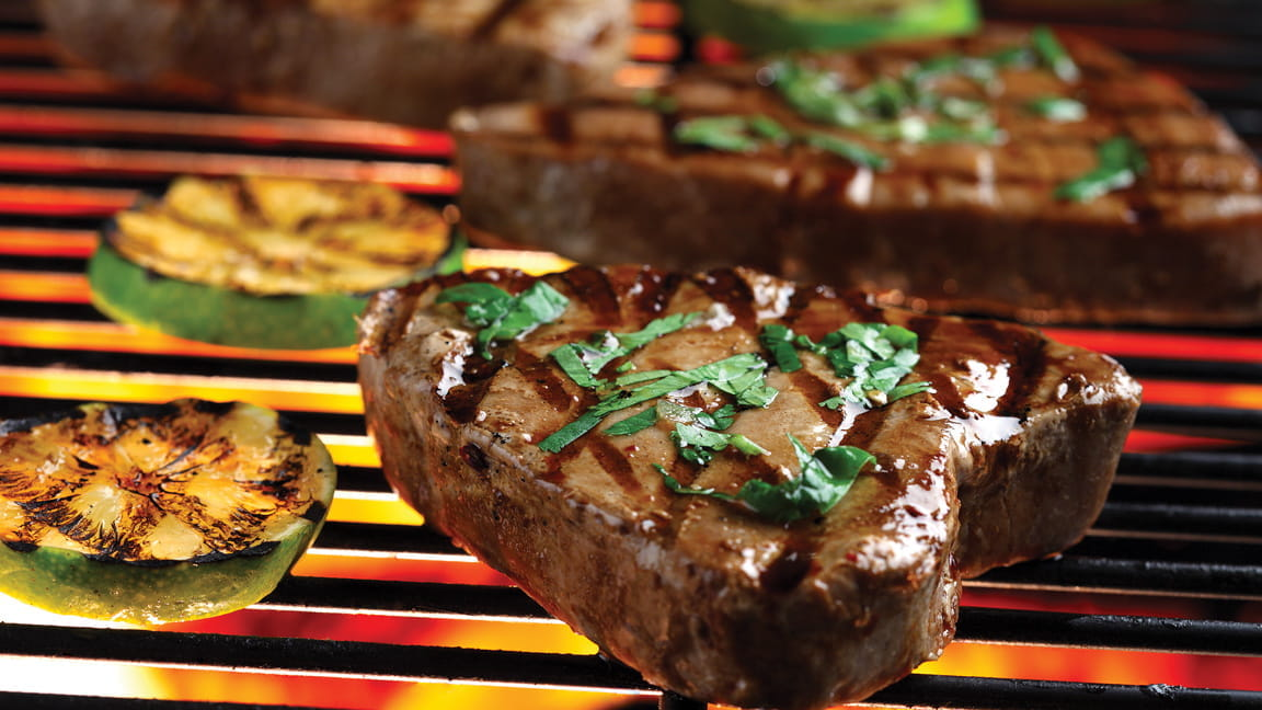 Grilled Tuna Steaks With Cilantro And Basil American Heart