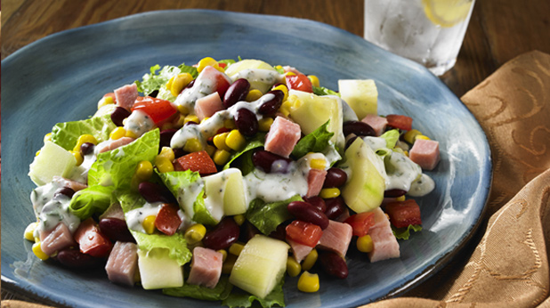 Ham & Corn Salad with Buttermilk Ranch Dressing