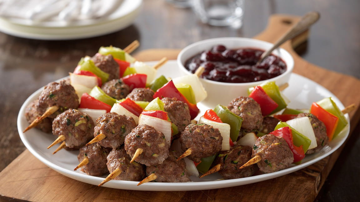 Holiday Mini Beef Meatball Skewers with Cranberry Barbecue Sauce
