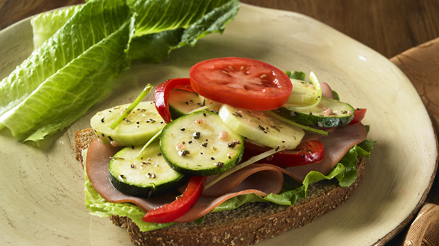 Open Faced Italian Vegetable Sandwich with Ham or Turkey