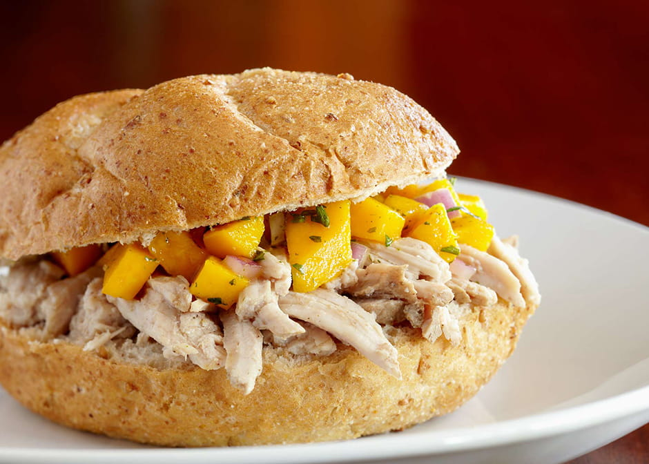 Jerk Pork Sandwiches with Mango Sauce