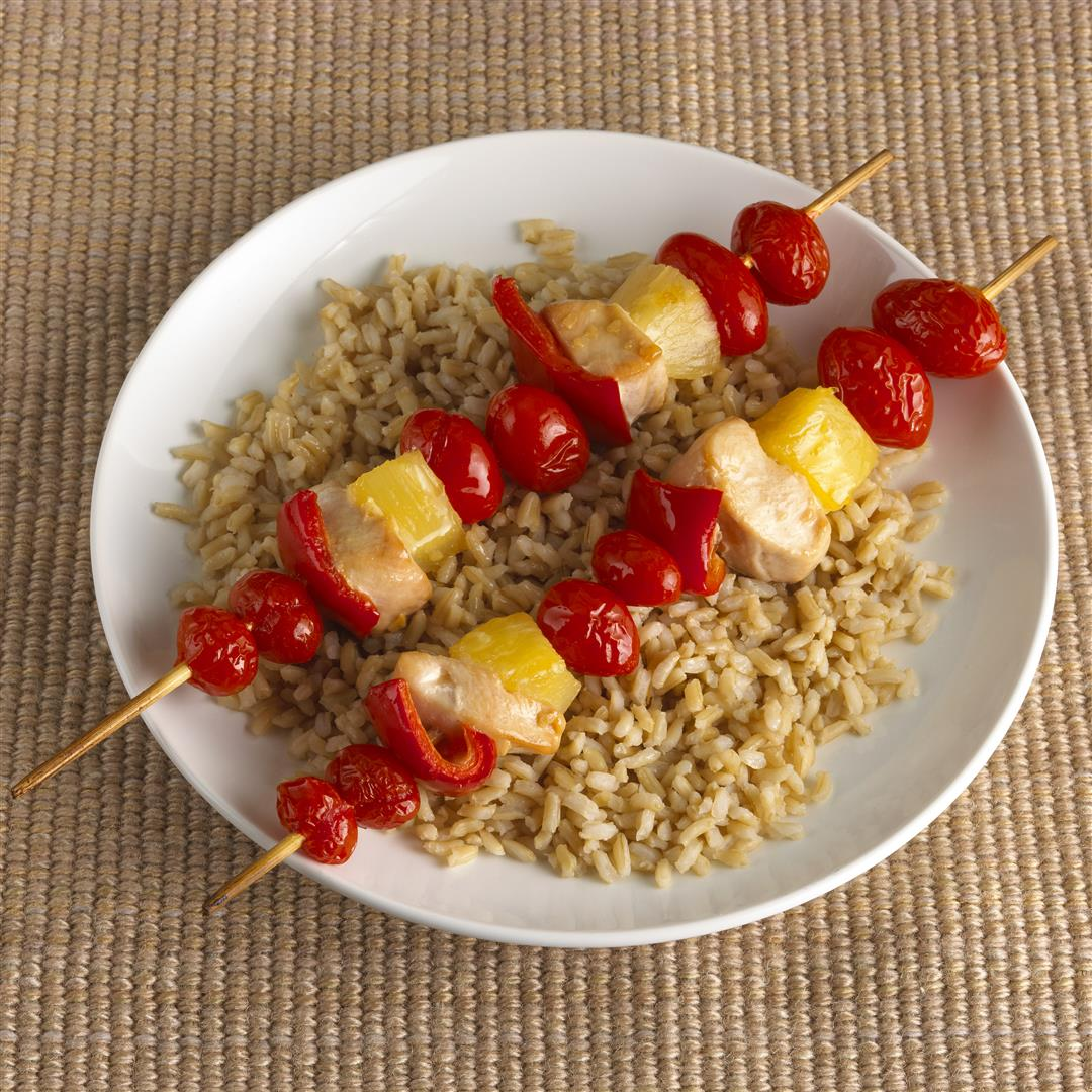 Kid friendly hawaiian chicken kebabs with brown rice