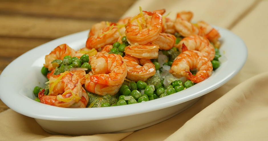 Lemongrass Shrimp with Spring Pea Salad