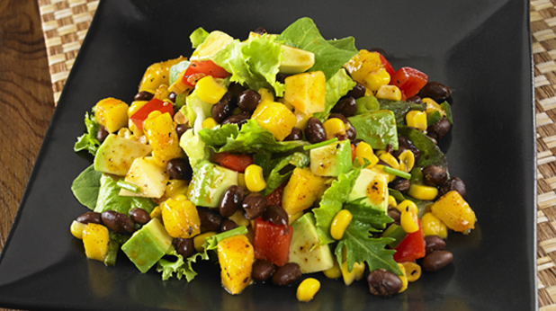 green salad with mango and avocado