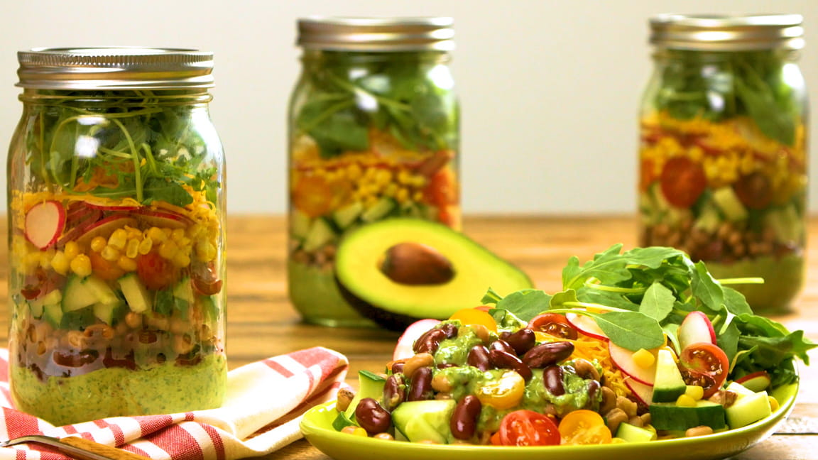 Mason Jar Taco Salad with Avocado-Cilantro Dressing