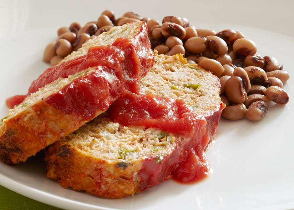 Meatloaf with Black Eyed Peas