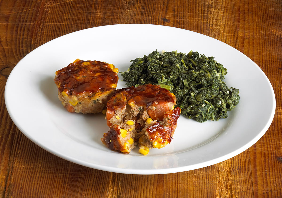 Mini Meatloaves with Low-Fat Creamed Spinach