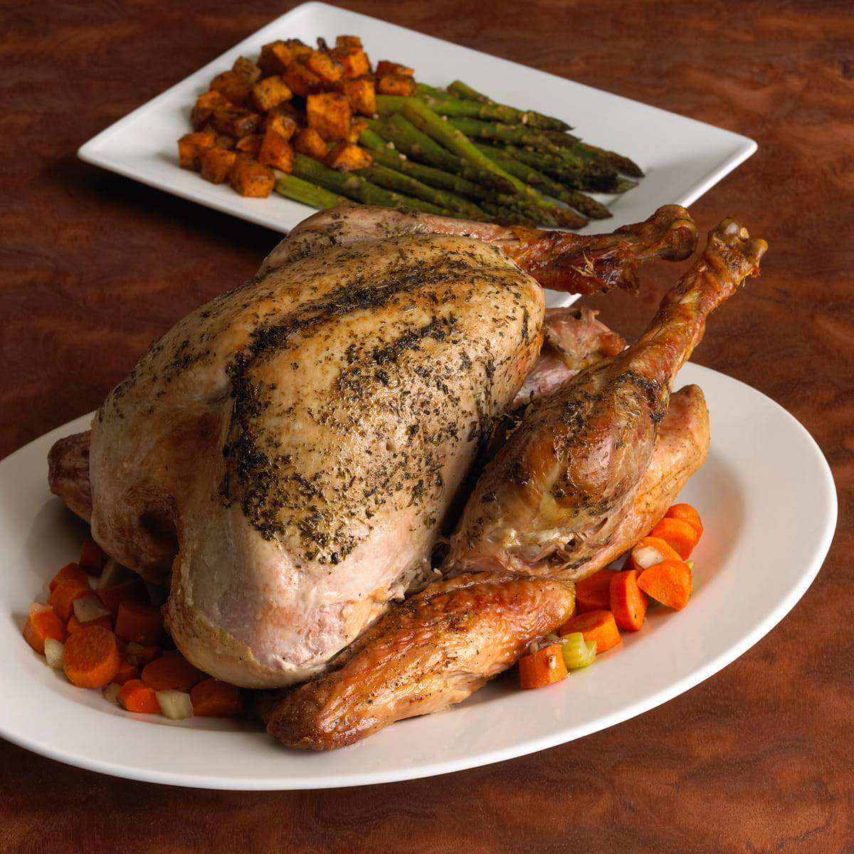 Moms Roasted Turkey with Butternut Squash and Asparagus