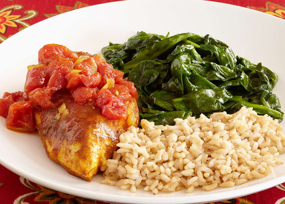 Moroccan chicken with brown rice and lemon sauteed spinach forumfinder Image collections