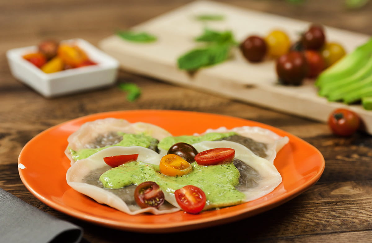 Mushroom Ravioli with Avocado Pesto