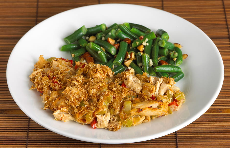 One Pot Tuna Casserole with Green Beans and Almonds