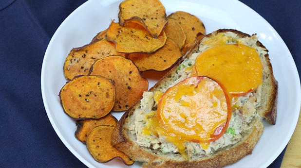 Open Face Tuna Melt with Oven Baked Sweet Potato Chips