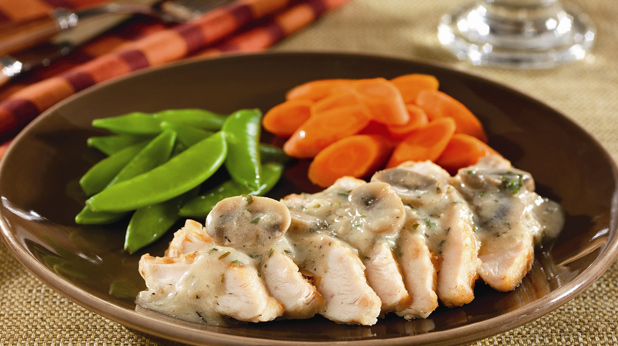 Pan Seared Chicken Breasts with Creamy Mushroom Sauce