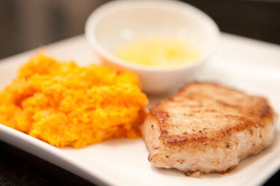 Pan Fried Pork Chop With Mashed Sweet Potatoes