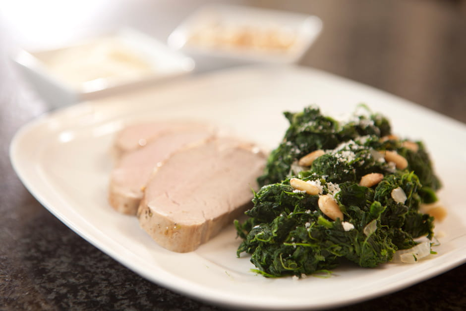 Pork Tenderloin and Spinach with Parmesan