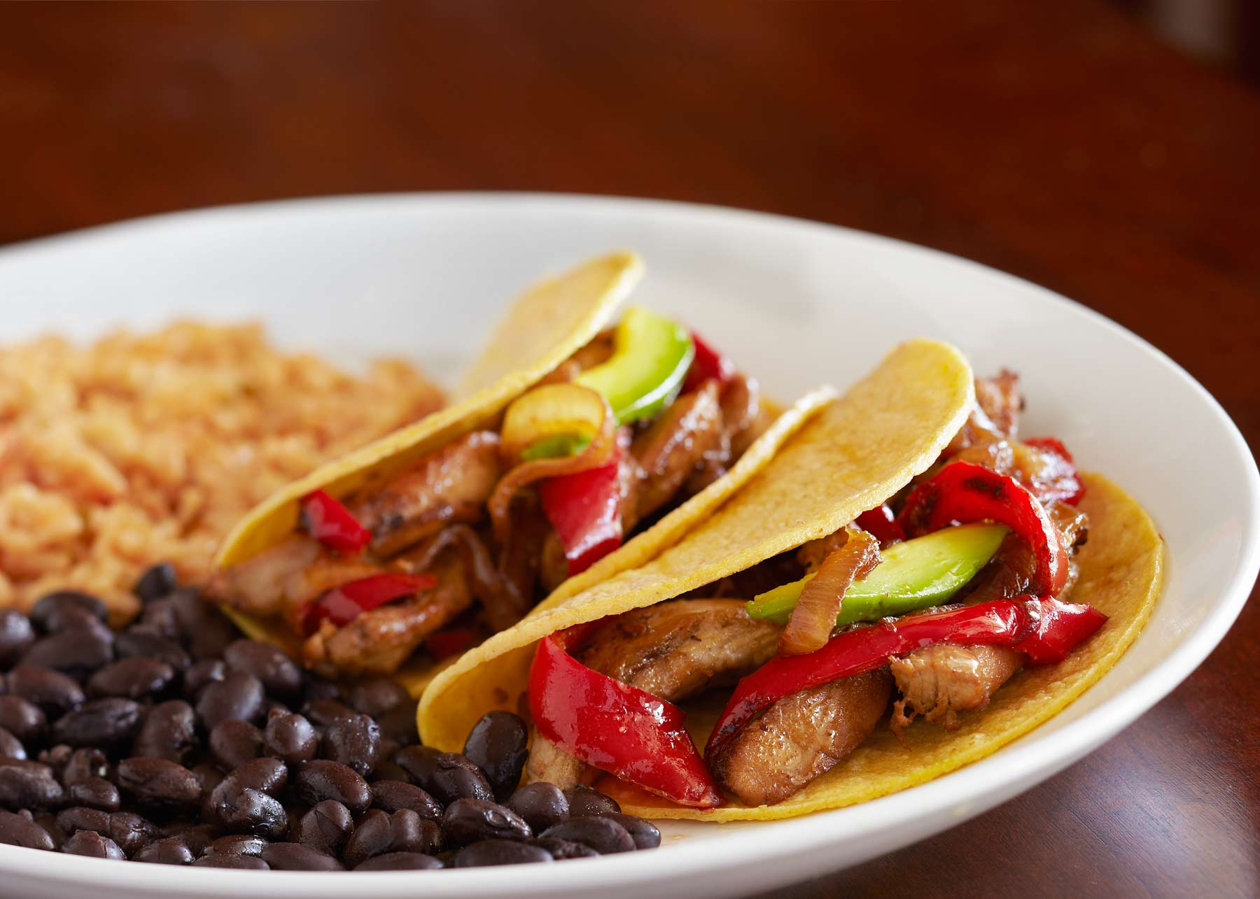 quick chicken fajitas, beans and spanish rice